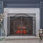 Pendleton Modern Three Panel Fireplace Screen With Door By