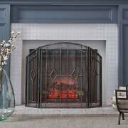 Gilmer Contemporary Three Panel Fireplace Screen By