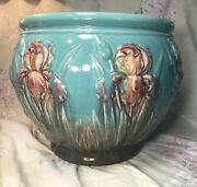 Vintage Large Blue/turquoise And Rose Lilies Weller Majolica Roseville Jardiniere