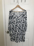 Yours Clothing Plus White Navy Bird Pattern Circle Cape Blouse Top Size 20 22
