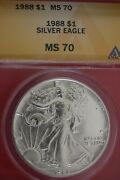 1988 Ms 70 Silver American Eagle Anacs Certified Graded Authentic Slab Oce 43