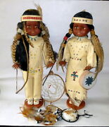 2 Vintage Native American 18 Dolls By Carlson Male Female W Indian Accesories