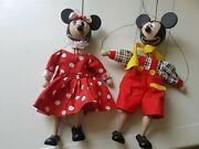 New Vintage Cesky Vyrobek Wooden Marionette Puppets Disney Mickey And Minnie Mouse