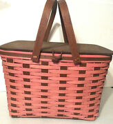 Longaberger Picnic Basket Rich Brown And Pink Rare 2 Piece Protector New