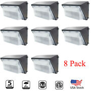 8 Pack Led Wall Pack Light 150w 5500k White With Dusk-to-dawn Photocell 15000lm