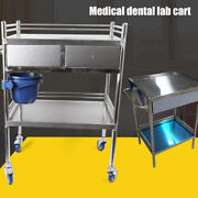 Us Hospital Stainless Steel Two Layers Serving Medical Dental Lab Cart W/ Drawer
