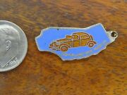 Vintage Silver California State Map Movieland Wax Museum Dble Sided Charm Rare