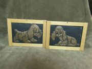 Texas Artist Kenneth Wyatt Early Copper Repousse Dog Picture Pair 1940's Era