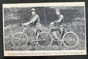 Mint Usa Rppc Postcard Reinhardt And Holland On Bicycle Trip From Allentown To Ca
