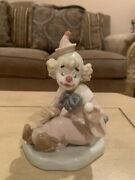 Nao By Lladro Porcelain Clown 485- Seated And Holding A Small Ball