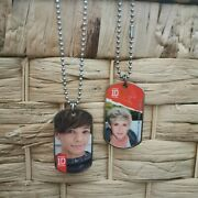 2x One Direction 1d Dog Tags On Chains Necklace Louis, Niall