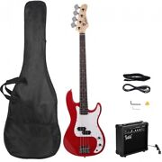 Glarry Gp Electric Bass Guitar Red W/ 20w Amplifier Bass + Bag + Spanner Tool