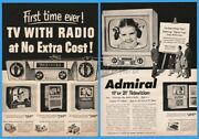 1952 Admiral Tv With Radio No Extra Cost Console Table Models Print Ad