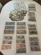 Large Old Foreign Coin And Bills Lot Vintage Collection