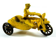 Hubley 376 Cop Police Motorcycle W/ Sidecar Cast Iron Toy Repaint