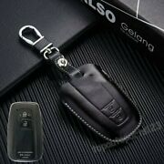 Fit Toyota Camry Ch-r 2018 Real Leather Car Smart Key Case Bag Cover Keychain G