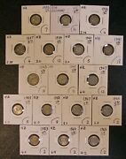 17 Different New Zealand 3 Pence Coins 1933-1965 5193