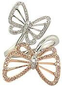Large .39ct White And Pink Diamond 18kt White Rose Gold Double Butterfly Love Ring