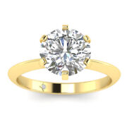 0.8ct D-si1 Diamond Knife-edge Engagement Ring 18k Yellow Gold Any Size