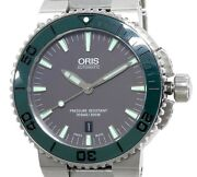 Oris Aquis Date Divers Watch 01.733.7653 Automatic Gray Dial Menand039s 43 Mm