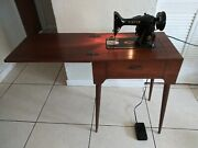 Singer 99k Sewing Machine With Wood Cabinet Table Model. Made In Usa