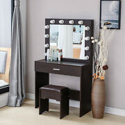 Dressing Makeup Table Vanity Set With Mirror 12 Led Lights For Bedroom Home Deco