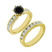 1.75 Ct Real Black Diamond Solitaire Channel Wedding Ring Band 14k Yellow Gold
