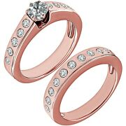 1.5 Carat Real White Diamond Channel Promise Wedding Ring Band 14k Rose Gold