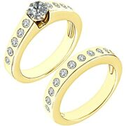 1.5 Carat Real White Diamond Channel Promise Wedding Ring Band 14k Yellow Gold