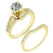 1.25 Carat Real White Diamond By Pass Wedding Bridal Ring Band 14k Yellow Gold