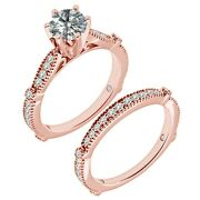 1.25 Carat Real White Diamond Infinity Vintage Wedding Ring Band 14k Rose Gold