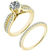 1.5 Ct Real White Diamond Crossover Engagement Bridal Ring Set 14k Yellow Gold