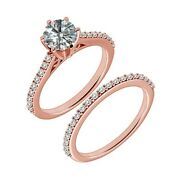 1.25 Carat Real White Diamond Half Eternity Solitaire Ring Band 14k Rose Gold