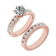 1.5 Carat Real White Diamond Solitaire Channel Wedding Ring Band 14k Rose Gold