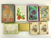 8 Vtg Boxes Unused Note And Greeting Cards Christmas Baby Get Well Recipe French