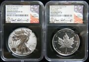 2019 Pride Of Two Nations - Silver Eagle/maple Leaf Set Autographed Ngc 70 Ap46