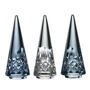 Waterford Christmas Tree Set Of 3 4.9 Colored Crystal Topaz Ombre Mix Colorway