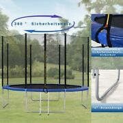 Outdoor Trampoline With Safety Enclosure Net And Padded Poles Garden Trampoline
