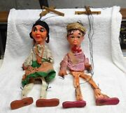 Pair - Vintage -- Paper Mache Marionettes - Puppets - Must See - Very Old