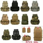 New 4pcs 66l Molle Tactical Backpack Bag Military Pouch Rucksack Army Hiking Set