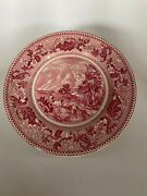 Historic America Red Transferware- Covered Wagon China Plate Johnson Brothers 4