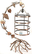 Jewelry Earring Necklace Holder Tree Bejeweled Display Antique Birdcage Organize