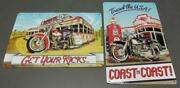Lot 2 Ande Rooney Tin Motorcycle Gas Station Advertising Signs 9.5x14