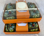 2 Box Sets Of 4 Williams Sonoma Green Autumn Harvest Pumpkin Place Card Holders