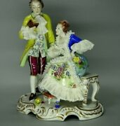 Antique Volkstedt Germany Porcelain Lace Figurine Man Reading Book To Woman