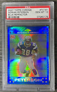 Adrian Peterson - 2007 Topps Chrome Rookie Blue Refractor Rc - Psa 10 Vikings