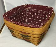 Longaberger Woven Traditions Large Berry Basket Combo Protector And Trad Red Liner