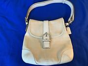 Coach White Canvas And Leather Shoulder Crossbody Purse Bag J3k-6376 Pre-owned