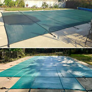 Green Winter Swimming Pool Cover 16x32 Ft High Quality Pp W/ Installation Tools