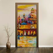 Peel And Stick Door Sticker Decal Painting Abstract Buildings City Boat Colourful